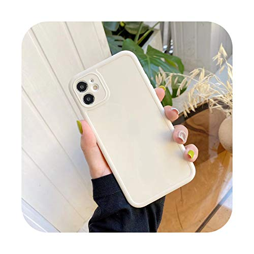 Candy Color Love Heart Handyhülle für iPhone 12 11 Pro Max XS XR X 7 8 Plus SE 3D Cartoon Smile Duck Cow Square Frame TPU Cover Plain White für iPhone 12 Mini