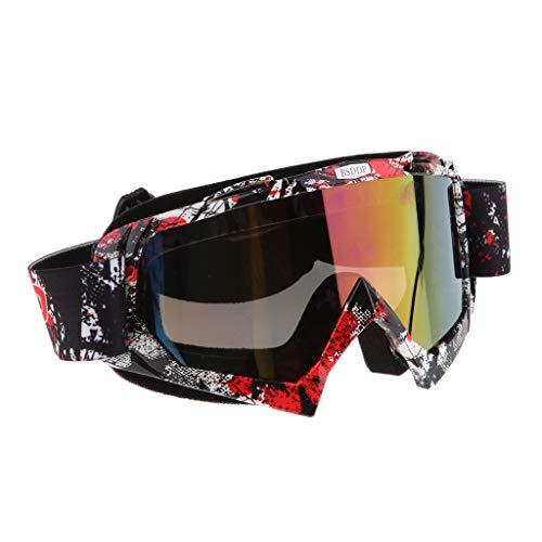 Mascherina Occhiali Motocross Enduro Sci Snowboard Antivento Antipolvere Antigraffio - A018 Specchio colorato