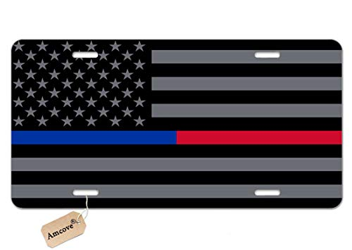 Amcove License Plate Thin Blue Red Line Police & Fire Respect and Honor Law Enforcement Flag Decorative Car Front License Plate,Vanity Tag,Metal Car Plate,Aluminum Novelty License Plate,6 X 12 Inch