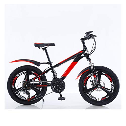 OFFA Kids Bike Boys Girls Mountain Bicycles, 20 Inch 21-speed Disc Brake Shock-absorbing Cruiser Mountain Bicycle, Child's Bike Aluminum Alloy Handlebar And Comfortable Cushion, Black Red
