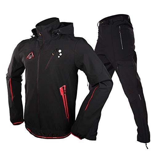 Fahrradjacke für Herren, langärmelig, mit Hose, Winter-Fleece, Polyester, Spandex, schwarz, für Fahrradbekleidung