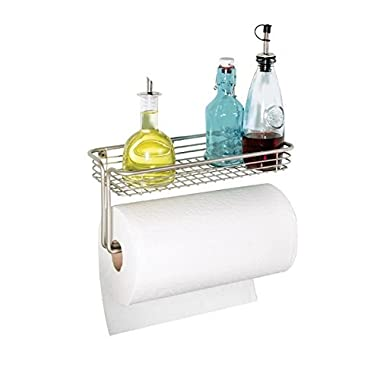 mDesign Wall Mount Paper Towel Holder with Shelf for Kitchen, Laundry and Garage - Satin