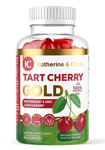 Tart Cherry Gold Montmorency Gummies – Tart Cherry Extract Gummies with Celery Seed – Promotes Healthy Uric Acid Levels to Support Pain, Gout, Joint Inflammation Relief – Vegan Made in USA - 60 Count