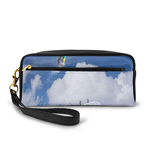 Pencil Case Pen Bag Pouch Stationary,Flying Snowboarder on The Mountaintop with Cloudy Sky Extreme Sports Theme Photo,Small Makeup Bag Coin Purse