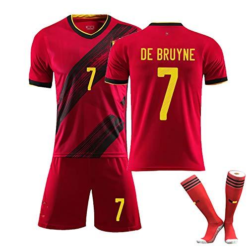 LZZQMR Chica niña Jerseys de fútbol Adulto 2020 Bélgica Jersey No.10 Peligro No.7 de Bruyne para Todos, Uniformes de Entrenamiento de poliéster con Calcetines de fútbol No.7-XL