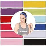 Folora 12Pcs Stretchy Elastic Stirnbänder, Baumwolle Sport Haarband für Frauen Mädchen, Geeignet für Yoga, Pilates, Laufen, Radfahren