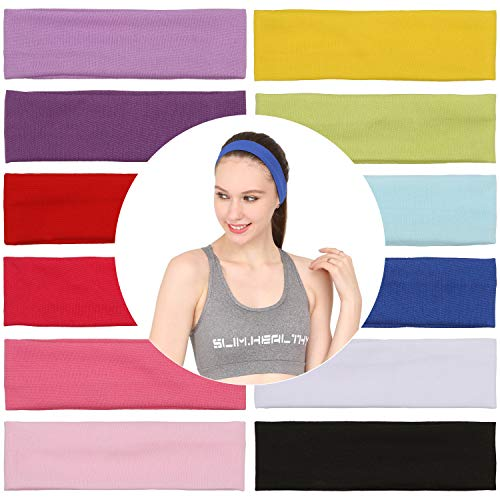 Folora 12Pcs Stretchy Elastic Headbands, Cotton Sports Hairband for Women Girls, Suitable for Yoga, Pilates, Running, Cycling,12 colour,Mixed Colour