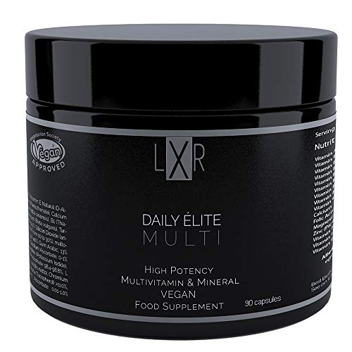 LXR Daily Elite Multivitamins and Minerals - Vegan Multivitamin for Men and Women - Essential Blend of Vitamins, Minerals and Nutrients - High-Strength Multi Vitamins Supplement (90 Vegan Capsules)