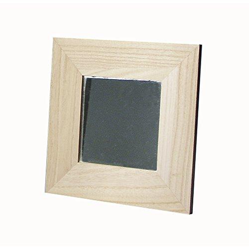 RAYHER 6134300 houten lijst met spiegel, 22 x 22 cm