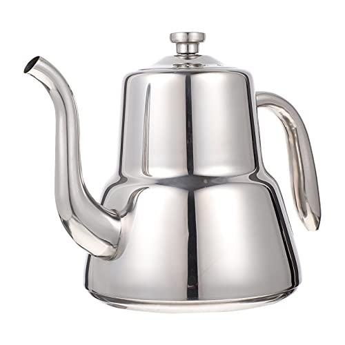HEMOTON Hervidor de té de acero inoxidable verter sobre el café hervidor de agua de fondo plano Tetera para el hogar Cocina para el café por goteo, hojas sueltas