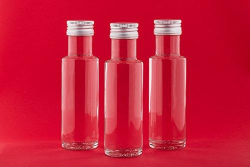 slkfactory 20 Botellas de Cristal vacías de 100 ml DOR-SCH pequeñas Botellas de Licor, vinagre y Aceite con Cierre de Rosca 0,1 litros para Rellenar