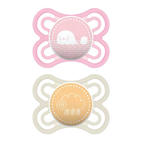 MAM Perfect Pacifiers, Baby Pacifiers 0-6 Months (2 pack, 1 Sterilizing Pacifier Case), Best Pacifier for Breastfed Babies, Orthodontic Pacifier, Baby Pacifiers, Baby Girl