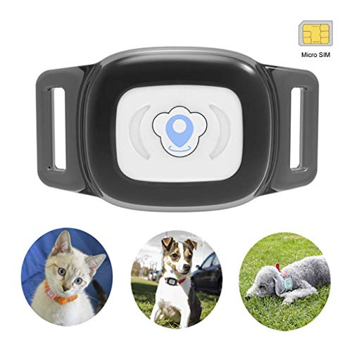 BARTUN Mini GPS Dog Cat Tracker Locator for 28lb Pets Waterproof IP67 Real Time Activity Monitor AGPS LBS SMS Positioning Tracking Device with Collar Included SIM Card (Black)