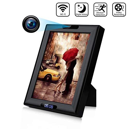 Cámara Oculta Reloj 1080P HD WiFi inalámbrico Cámara espía Oculta Marco de Fotos, visión Nocturna por Infrarrojos y detección de Movimiento Cámara de niñera para Seguridad de vigilancia en el hogar