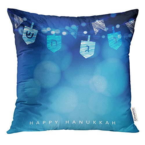 Emvency Throw Pillow Cover Blue with String of Light and Dreidels Festive Party Modern Blurred for Festival Decorative Pillow Case Home Decor Square 18x18 Inches Pillowcase