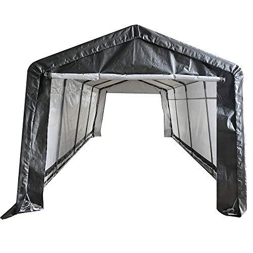 kdgarden 10 x 6 ft Carport Tragbares Autokondach mit geschlossenem Dach, für den Außenbereich und Garage Top Cover grau
