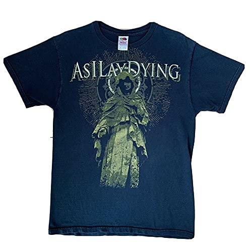 PANLON As I Lay Dying Band Vintage Shirt Medium Black Metal Tour Tee all Over Print Dark Blue M