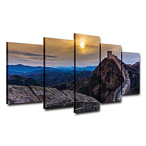 5 Piece Wall Art Sunset Over Great Wall Of China Oil Painting Canvas Custom Canvas For Home Decorations Pictures Living Room Bedrooms Framed Ready To Hang (150 * 80cm)