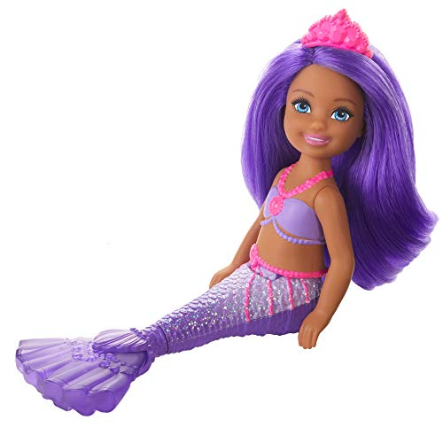 Barbie Dreamtopia Chelsea Mermaid Doll, 6.5-inch with Purple Hair and Tail, Multicolor