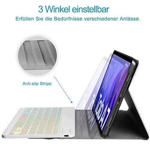 IVSO Tastatur Kompatibel mit Samsung Galaxy Tab A7 10.4 2020, mit Panzerglas, [QWERTZ Deutsches], Abnehmbar Beleuchtete Tastatur Hülle Kompatibel mit Samsung Galaxy Tab A7 T505/T500/T507, Roségold