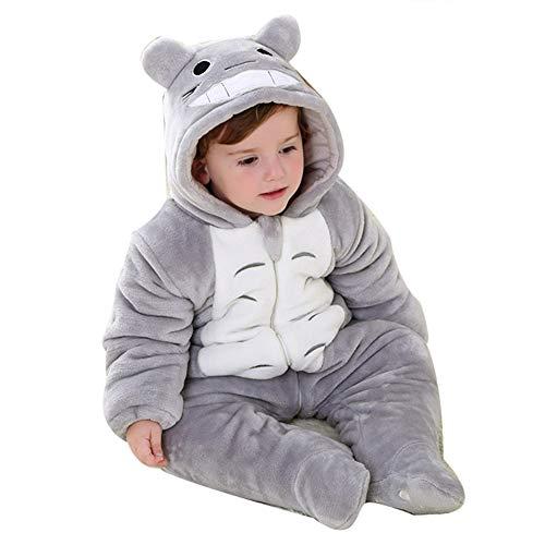LSERVER Unisex-Baby Schlafanzug Tier Pyjama Jumpsuits Tierkostüm, Graues Totoro, 18/24 Monate(100)