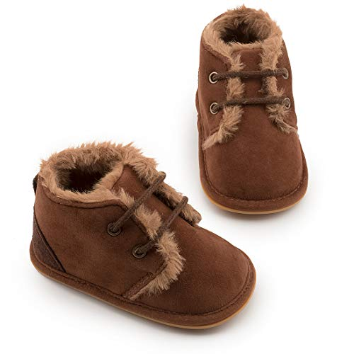CdyBox Little Baby Fleece Fur Knit Snow Boots Infant Warm Winter for 0-18 Months (6-12 Months, Grey)
