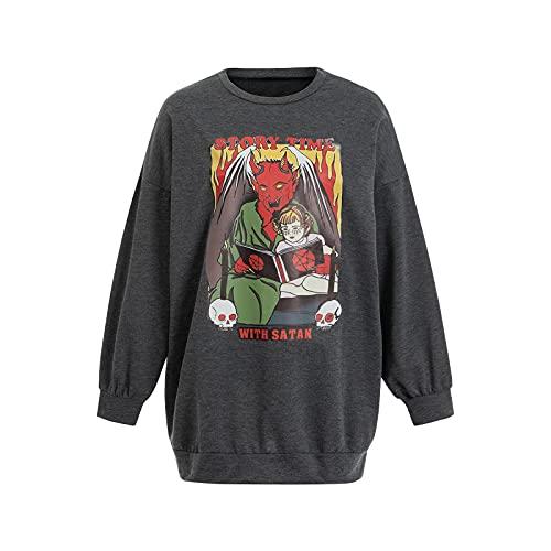 Sudadera con capucha de manga larga para mujer, primavera, otoño, niñas, dientes creativos, diseño de calavera, color a juego con cuello redondo, sueltos, Black Orange Skull, S
