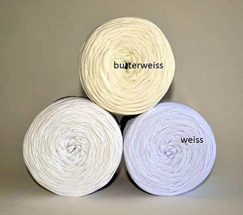 Textilgarn Baumwollegarn Stoffgarn Weiss 650g, 120m für Taschen, Körbe, Utensilo, Teppiche (butterweiss)