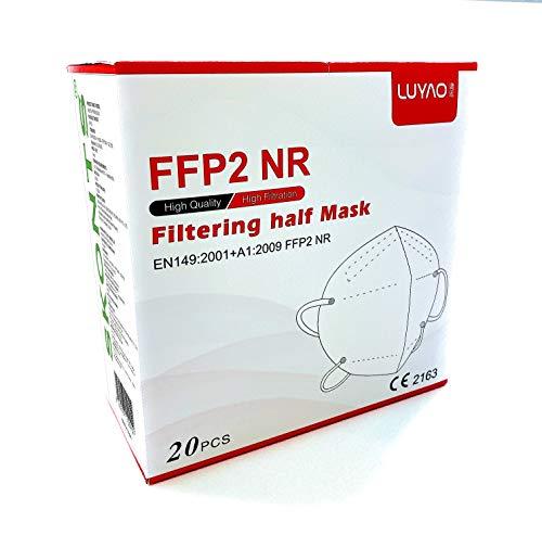 LUYAO, paquete de 20, máscaras FFP2 con certificación CE sin válvulas protectoras transpirables