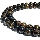 [ABCgems] Madagascan Rainbow Astrophyllite (Gorgeous Matrix- Mohs Hardness 4) 8mm Smooth Round Natural Semi-Precious Gemstone Healing Energy Beads