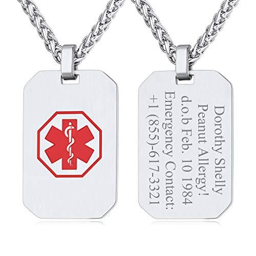 Custom4U Chapas Militares Collar Personalizado Medical Acero Inoxidable con Cruz Roja Colgante Rectangular con Textos Grabados Joyería Moderna