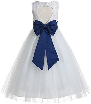 ekidsbridal Floral Lace Heart Cutout White Flower Girl Dresses Navy Blue First Communion Dress product image