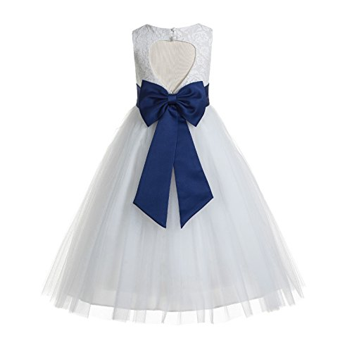 ekidsbridal Floral Lace Heart Cutout White Flower Girl Dresses Navy Blue First Communion Dress Baptism Dresses 172T 6