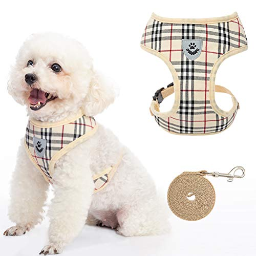 SOUTHMIA Small Plaid Dog Harness and Leash - Soft Puppy Padded Comfort Mesh Vest...