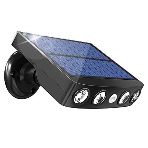 Luz Solar Exterior, LED Luces Solares con Sensor de Movimiento, 360° lluminación 3 Modos Impermeable Foco Solar, Luz de Pared Solar Seguridad Solar para Puerta, Patio, Garaje, Valla, Camino