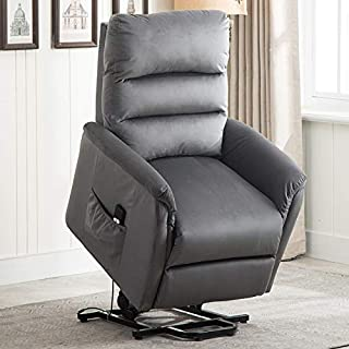 CANMOV Power Lift Recliner Chair for Elderly- Heavy Duty and Safety Motion Reclining Mechanism-Antiskid Fabric Sofa Living Room Chair with Simple Design, Blue