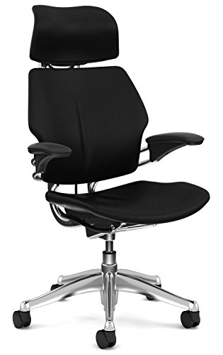 Freedom Chair by Humanscale - Headrest, Adv. Arms, Black Leather on Polished Aluminum