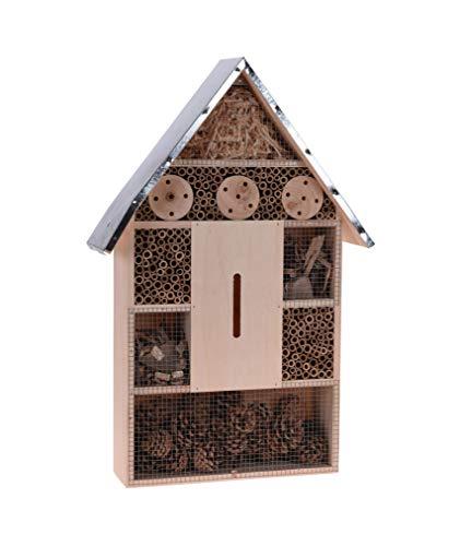 Spetebo Insektenhotel XXL mit Metall Dach - zum aufhängen - 57 cm x 38 cm x 12 cm - Insektenhaus zum hängen