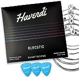 HAVENDI® Cuerdas de guitarra eléctrica – Cuerdas de acero para guitarra eléctrica revestidas de níquel (juego de 6 cuerdas, incluye 3 púas)