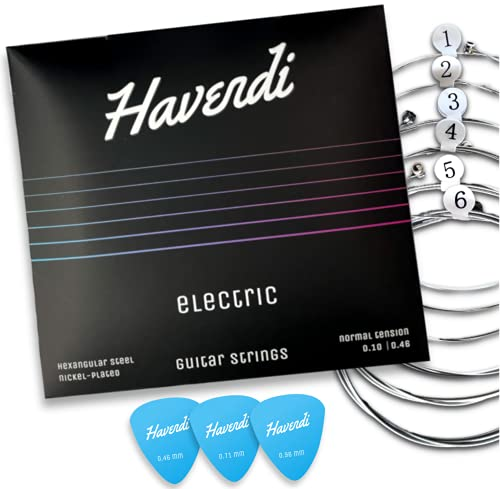 HAVENDI® Gitarrensaiten E-Gitarre - brillante Klangqualität Saiten aus Stahl für elektrische Gitarre mit Nickel ummantelt (6 Saiten-Set) inkl. 3 Plektren