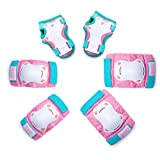 Kids/Youth Protective Gear - Knee Pads Elbow Pads Wrist Guard 6-in-1 Set for Bike, Cycling, Roller Skating, Skateboard, Cycling, Inline Skating, Hover Boards, Penny Board - Unicorn Tail - S