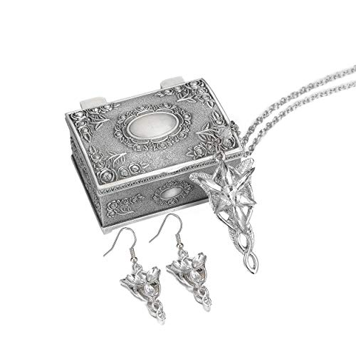 Arwen Evenstar Pendant Silver Plated Necklace Elven Green Leaf Brooch Pin Pendant Necklace with Jewelry Box (2 Pcs ) (Arwen- Suit)