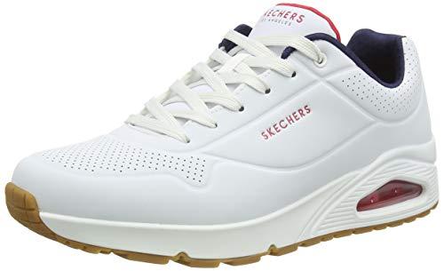 Skechers UNO Stand ON Air, Zapatillas Hombre, Blanco (White Durabuck/Navy/Red Trim Wnvr), 42 EU