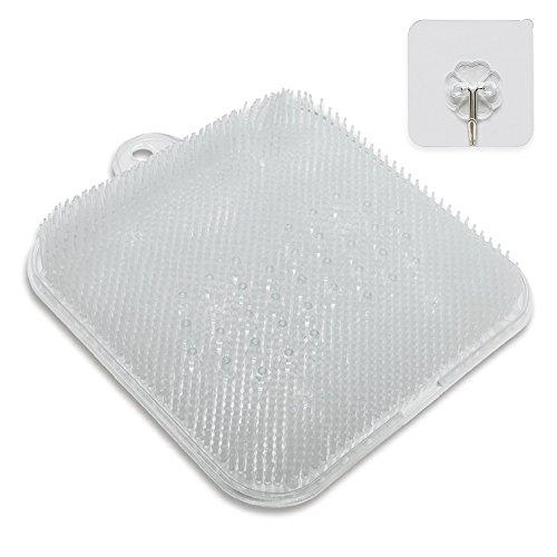足洗い用 バスマット 足洗いマット 汚れ角質除去 ストレス解消 壁掛けフック付き 浴室フック24x24x4cm
