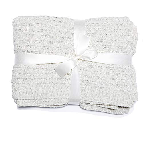 Throws For Sofas Knitted Lightweight Throw Blanket 100% Acrylic CABLE Knit Bed Throws Soft Cozy Snuggle Blanket For Bed, Sofas & Couches, Car, Office, Travel (150x180 CM, Ivory)