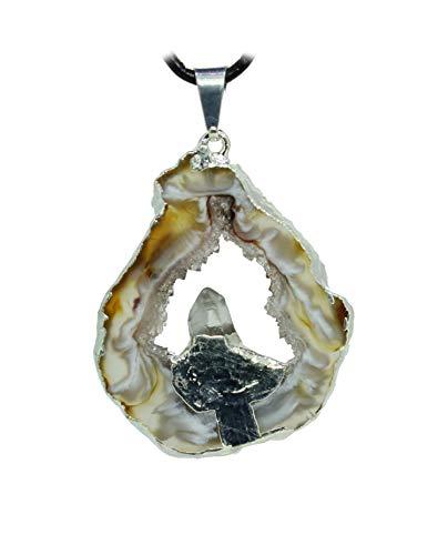 budawi® - Achat Geode Anhänger Kettenanhänger Achatgeode mit Bergkristallspitze