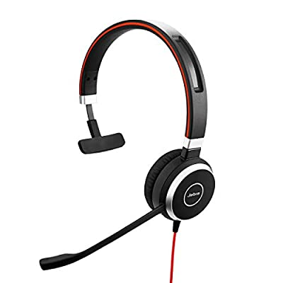 Jabra Evolve 40 MS Mono Headset – Microsoft Certified Headphones for VoIP Softphone with Passive Noise Cancellation – USB-Cable with Controller – Black by GNSUA