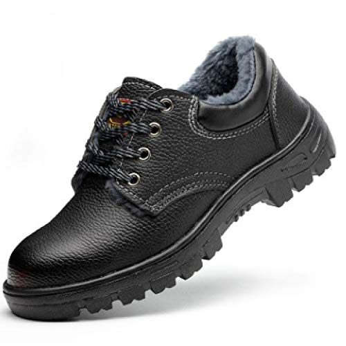 [le ciel] 防寒 安全靴 鉄入り 釘踏み抜き防止 耐油 防滑 ブーツ ローカット 作業靴 黒 ボア入り 防寒靴 (24.5)