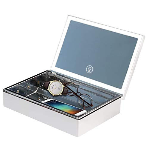 LED Kosmetikspiegel mit Beleuchtung Make up Organizer Box uvc desinfektionsgerät uv Sterilisator für Schminke Handy Masken Uhr Brille Geschenke für Frauen Schminkspiegel mit licht Desinfektion Lampe.