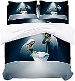 Juego de edredón de ropa de cama religiosa de 3 piezas, tema navideño importante escena de nacimiento con la familia, la madre, el padre y el bebé, funda de edredón de microfibra hipoalergénica y 2 fu